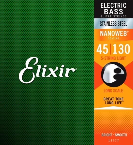 """Elixir Bass Nanoweb Coating, 5-String, Stainless Steel, Light 045""""/130"""""""
