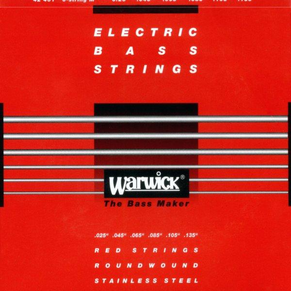 "Warwick Red String 6 Set Medium 025""/135"" Stainless Steel"