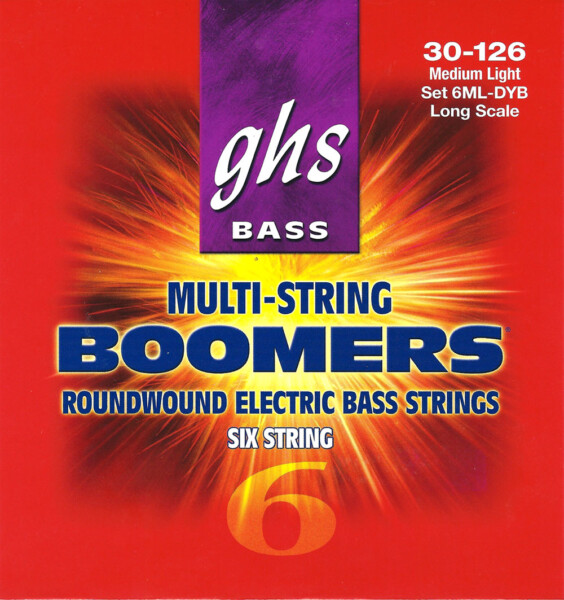 "GHS Bass Boomers 6 String, Medium Light, 030""-126"""