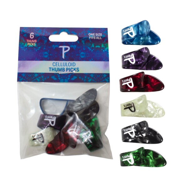 Perri's Celluloid Thumb Picks 6 Pack, One Size