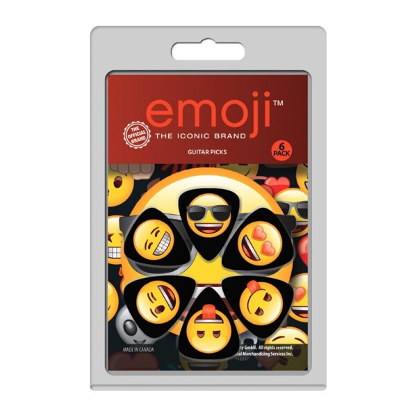 Perri's LP-EMO1 6 Pack Of Celluloid Official Licensing Emoji Variety Faces Guitar Picks