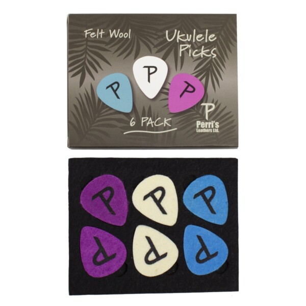Perri's LP-FUP1 Felt Wool Ukulele Picks 6 Pack, Teal, Purple, White