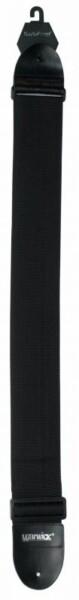 Rockstrap Nylon Bass Strap, Leather Ends, 80mm, Black, Warwick Logo