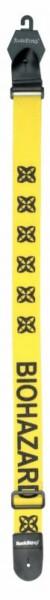 Rockstrap Nylon Guitar Strap, Leather Ends, 50mm, Printed Biohazard, Yellow