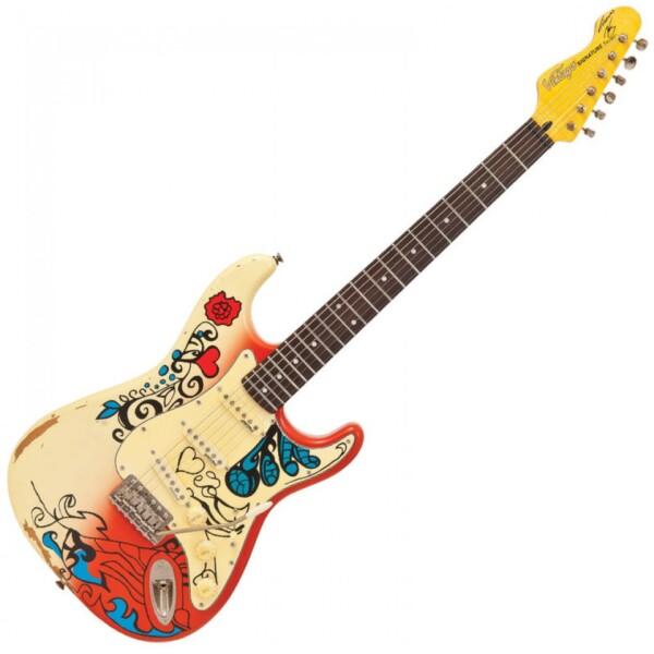 Vintage V6 Thomas Blug Signature Electric Guitar, 'Summer of Love'