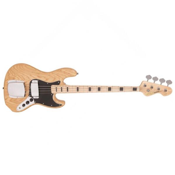 Vintage VJ74NAT Bass Guitar, Maple Fretboard, Natural Ash Body