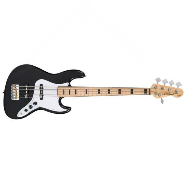 Vintage VJ75MBK 5 String Bass Guitar, Maple Fretboard, Gloss Black