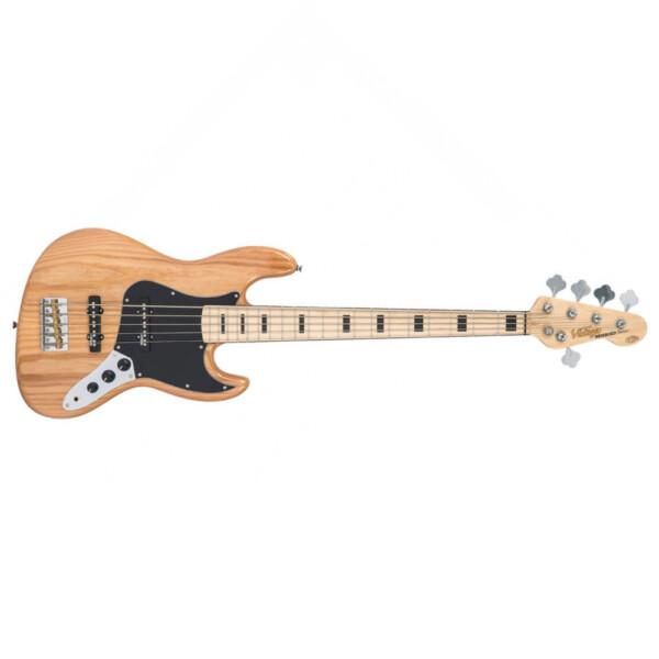 Vintage VJ75MNAT 5 String Bass Guitar, Maple Fretboard, Natural Ash Body
