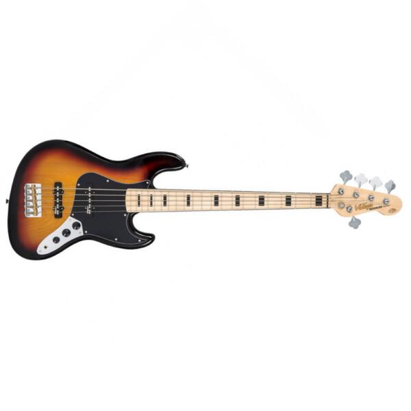 Vintage VJ75MSSB 5 String Bass Guitar, Maple Fretboard, Sunset Sunburst